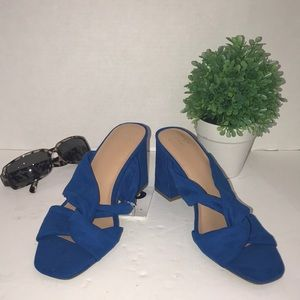 """Knotted Blue Sandals Slide-on 3"""" Chunky Heel New"""